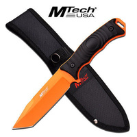 M-Tech USA Neon Orange Tanto Fixed Blade Knife Tactical & Military - MT-20-70TO