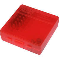 MTM Pistol Ammo Box 100 Round Flip-Top 9mm 380 ACP - Clear Red P-100-9-29