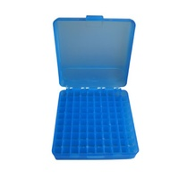 Max-Comp Pistol Ammo Box 100 Round Flip-Top 38 Special 357 Mag - Blue -PTAB002B