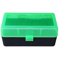 MTM Rifle Ammo Box - 50 Round Flip-Top 270 Win 30-06 25-06 - Clear Green/Black RL-50-16T