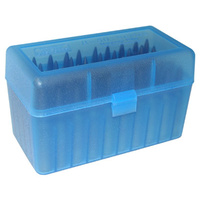 MTM Rifle Ammo Box - 50 Round Flip-Top 375 Remington Ultra Magnum 375 Wby Weatherby Magnum - Blue RLLD-50-24