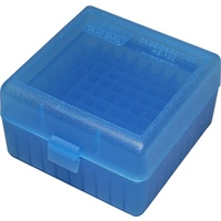 MTM Rifle Ammo Box - 100 Round Flip-Top 223 Rem 204 Ruger 6x47 - Blue RS-100-24