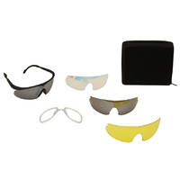 Pro-Tactical Interchangable Shooting Glasses Set Black Frame 4 lens Gray Tawny Clear Yellow plus Presciption - TD-YL835