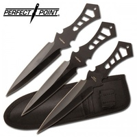 Perfect Point Set of 3 Black Throwing Knives - TK-017-3B