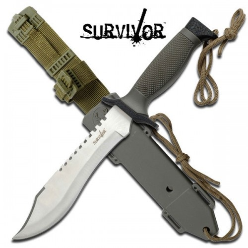 Survivor Tactical Huntng Knife with Rope Cutter Blade