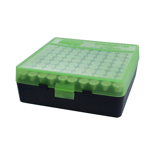 MTM Pistol Ammo Box 100 Round Flip-Top 38 Special 357 Mag - Clear Green/Black P-100-3-16T